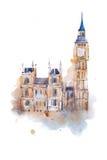 Het Paleis van Westminster van de waterverftekening in Londen Aquarelle het schilderen Huizen van het Parlement, Big Ben Stock Afbeelding