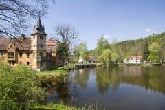Het Paleis Wolfersdorf van het water Stock Fotografie