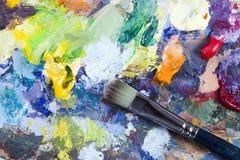 Het palet en de borstel van de kunstenaar Royalty-vrije Stock Afbeelding