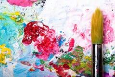 Het palet van de kleur met borstel Royalty-vrije Stock Afbeelding