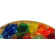 Het palet van de kleurrijke kunstenaar royalty-vrije stock foto's