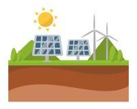 Het paneel en de windmolen de technologievector van de machtselektriciteit van de zon zonne-energie vector illustratie