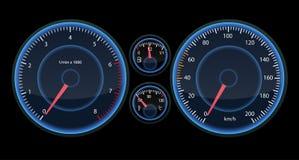 Het paneel van de autosnelheidsmeter Mening bij nacht op het paneel Futuristische Snelheidsmeter dor Infographic en designe vector illustratie