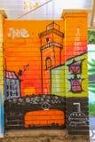 Het paneel van de straatkunst door graffitikunstenaars op trameinde Rusalka Dnestr Royalty-vrije Stock Afbeeldingen