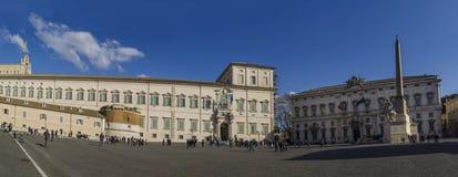 Het panorama quirinale paleis en costitutional van Rome cort Stock Afbeelding