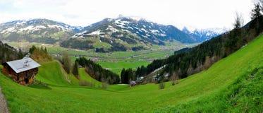 Het panorama van alpen Stock Foto
