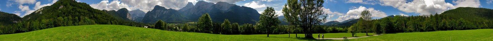 Het panorama van alpen biketrip Royalty-vrije Stock Foto's