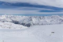 Het Panorama van alpen in Solden, Oostenrijk Royalty-vrije Stock Afbeeldingen