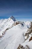 Het Panorama van alpen in Solden, Oostenrijk Stock Afbeelding