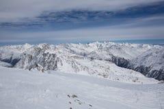 Het Panorama van alpen in Solden, Oostenrijk Stock Foto