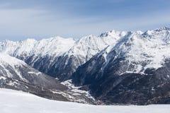 Het Panorama van alpen in Solden, Oostenrijk Royalty-vrije Stock Foto's