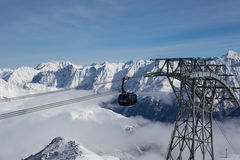 Het Panorama van alpen in Solden, Oostenrijk Stock Fotografie