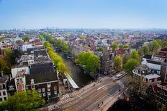 Het panorama van Amsterdam stock afbeeldingen