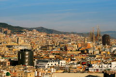 Het panorama van Barcelona Stock Fotografie