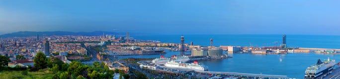 Het panorama van Barcelona, Spanje stock foto