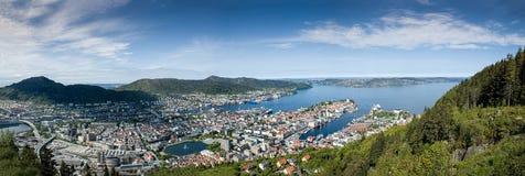 Het Panorama van Bergen Noorwegen Royalty-vrije Stock Foto
