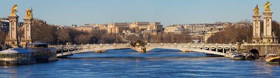 Het panorama van beroemde Alexandre III brug in Parijs, Frankrijk stock fotografie