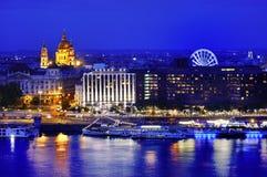 Het panorama van Boedapest bij blauw uur, Hongarije, Europa Stock Foto's