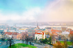 Het panorama van Boedapest van de Citadel met bruggen en de Pa Royalty-vrije Stock Afbeeldingen