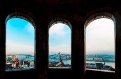 Het panorama van Boedapest van de Citadel met bruggen en de Pa Royalty-vrije Stock Afbeelding