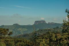 """Het panorama van bos en de piek als """"Pedra wordt bekend doen Baú† dichtbij Campos doen Jordão die royalty-vrije stock foto's"""