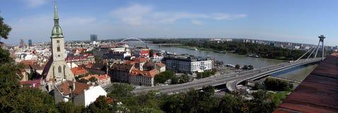 Het panorama van Bratislava Stock Foto