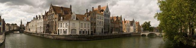 Het panorama van Brugge Stock Afbeelding