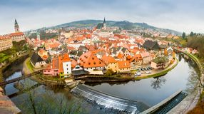 Het panorama van Ceskykrumlov fisheye Stock Foto