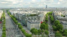 Het panorama van Champselysees stock videobeelden