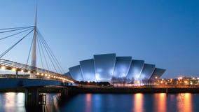Het panorama van Clydeside bij schemer Stock Foto