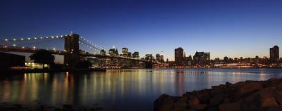 Het panorama van de Brug van Brooklyn Stock Foto's