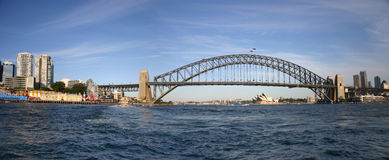 Het Panorama van de Brug van de haven Stock Foto
