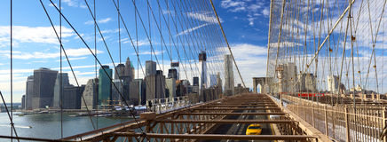Het panorama van de Brug van NYC Brooklyn Stock Foto's