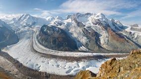Het Panorama van de Gletsjer van Gorner stock afbeeldingen