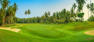 Het panorama van de golfcursus Stock Foto