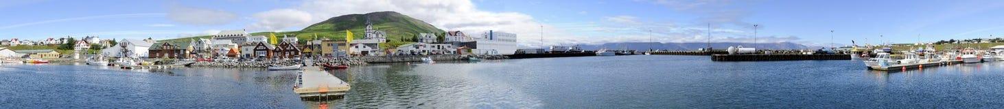 Het Panorama van de Haven van Husavik stock fotografie