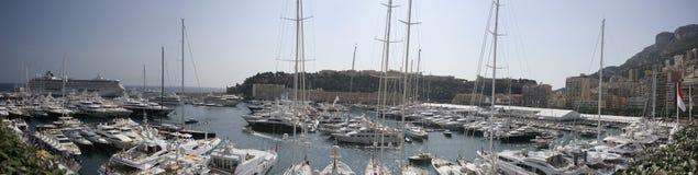 Het Panorama van de Haven van Monte Carlo Stock Foto's