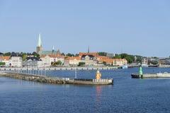 Het Panorama van de Helsingoerhaven stock foto