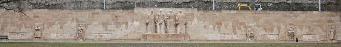 Het panorama van de hervormingsmuur in Genève, Zwitserland Royalty-vrije Stock Foto's