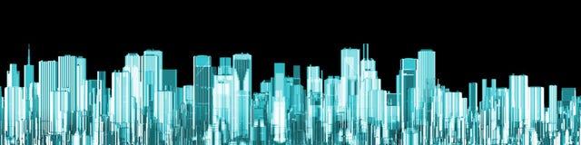 Het panorama van de hologramstad Stock Fotografie