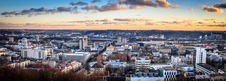 Het panorama van de Kaunasstad Stock Foto's