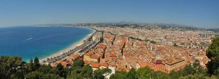 Het Panorama van de Kustlijn van Nice Frankrijk Stock Foto