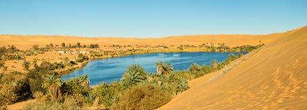 Het Panorama van de Oase van de Sahara stock fotografie