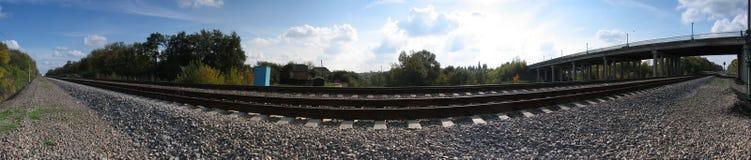 Het panorama van de spoorweg Stock Afbeeldingen