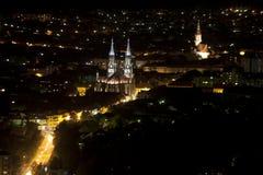 Het panorama van de stad bij nacht Stock Foto's