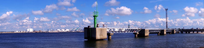 Het panorama van de Ventspilspijler Stock Foto's
