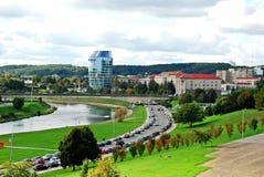 Het panorama van de Vilniusstad met rivier Neris op 24 September, 2014 Stock Fotografie