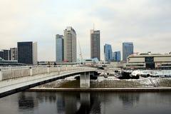 Het panorama van de Vilniuswinter met wolkenkrabbers op Neris-rivierraad Stock Fotografie
