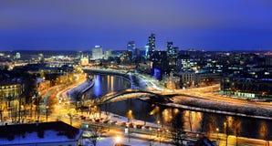 Het Panorama van de Vilniuswinter van Gediminas-Kasteeltoren royalty-vrije stock afbeelding