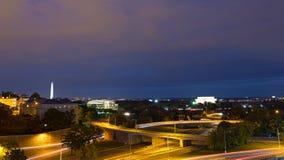 Het panorama van de Washington DCnacht met Lincoln Memorial en Nationaal Monument, de V.S. royalty-vrije stock foto